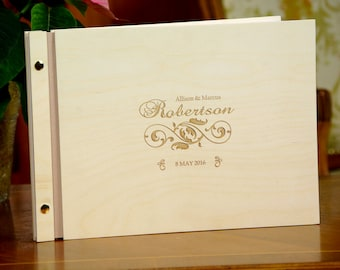 Wedding Wooden Guest Book Personalized Custom Cover Rustic Laser Engraved Cover Ornament Wood Guestbook