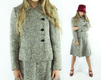 60s RAMUZ Paris Tweed Suit Blazer Jacket A line Skirt Salt Pepper Wool Vintage 1960s Small S Medium M Mod Preppy Winter
