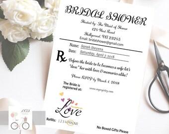 Prescription Pad Bridal Shower Invite, Doctor Pad Invitation, Nurse Bridal Shower, Bridal Celebration, Presciption for Love, Digital