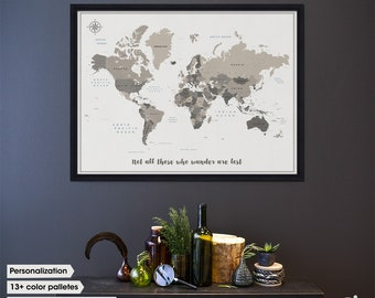 Personalized travel push pin map with quote / World map art / Travel map pinboard / world map with pins / pin world map / 21st birthday gift