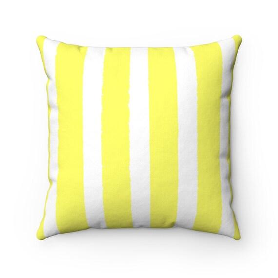 Lemon Yellow Striped Throw Pillow . Yellow Pillow . Lemon Yellow Lumbar Pillow . Yellow Striped Pillow . Yellow Cushion 14 16 18 20 26 inch