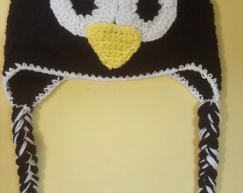Crochet Penguin Hat with Earflaps