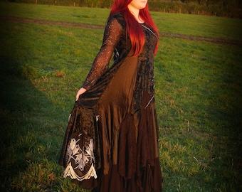 Black alternative gothic wedding dress, cobweb spider web adult witch costume, velvet romantic ball gown