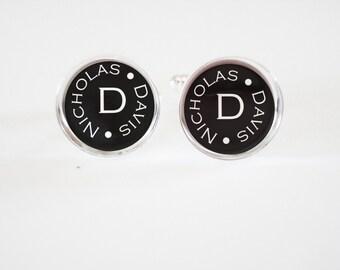 Monogrammed Cufflinks - personalized mens cufflinks - custom monogram gifts -classic cuff links - weddings-  mens accessories - mens gifts