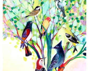 Coming Together - Modern Bird Tree Print by Jenlo