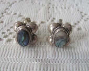 Abalone Sterling Earrings, Vintage Screwback Earrings, Signed El Rio, Vintage Jewelry