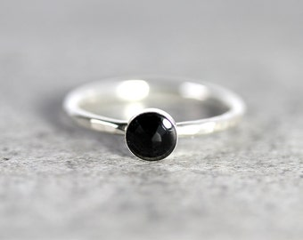 Onyx Stacking Ring - Onyx Ring - Onyx Solitaire Ring