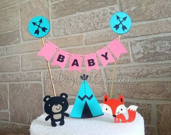Tribal baby shower, aztec baby shower, tribal Woodland baby, arrows baby shower, Woodland Cake Topper, Woodland baby shower, pow wow, boho