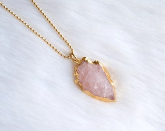 Rose Quartz Arrowhead Necklace » Arrowhead Jewelry » Arrowhead Pendant » Layering Necklaces » Layered Necklaces » Boho Jewelry