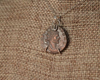 Ancient Roman Coin Sterling Silver Necklace