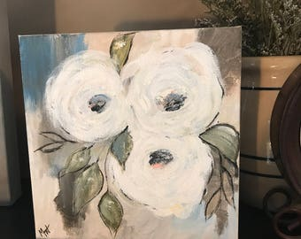 SOLD-White Blossoms floral 8x8 Acrylic painting Gallery Wrapped Canvas - See item details for painting another.
