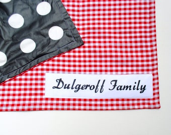 Personalized Picnic Blanket- Waterproof Picnic Blanket- Eco Friendly- Red and White Gingham