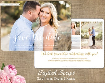 Stylish Script Save the Date Card, Photo Save the Dates, Rounded Corners, Gold, Any Color, Printed Cards or DIY Printable
