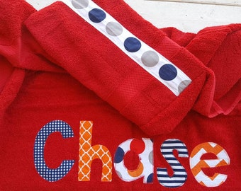 boys hooded towel- personalized towel- applique hooded towel-personalized kids hooded towel
