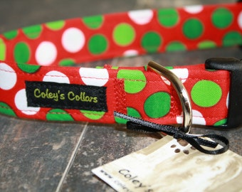 """Christmas Dog Collar, Dog Collar, Dog Collars, Boy Dog Collar, Girl Dog Collar, Polka Dot Dog Collar,  """"The Christmas Polka in Red """""""