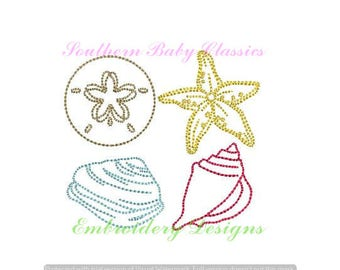 Beach Seashell Sand Dollar Starfish Summer Vintage Quick Stitch Design File for Embroidery Machine Instant Download Girl Beach