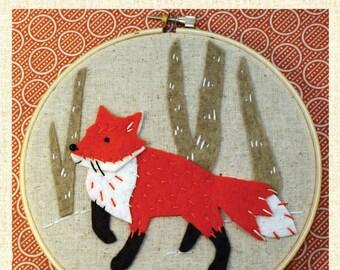 Fox Applique and Embroidery Kit, Fox Craft Kit, Fox Sewing Kit, Beginner Sewing Kit, Hand-Stitching - 'Fox' Hoop Kit Heidi Boyd