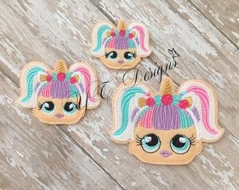 Giggle Doll Feltie Giggle Doll Unicorn Head Feltie Embroidery File