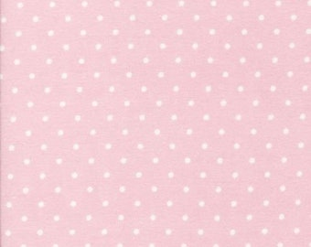 Robert Kaufman Cozy Cottons FLANNEL Fabric- FIN-9255-97 ROSE light pink and white polka dots