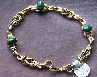 Gold Tone Reef Knot Link Metal Bracelet with Gemstones Available in Two Varieties