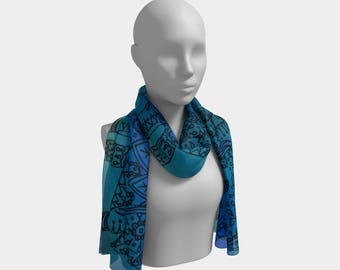 "Long Scarf  ""Ellie in The Blue"" (Material and Size Options)"