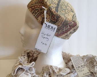 Upcycled Tapestry Homemade Hip Hat - Pillbox Style