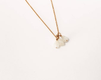 Valentine Champagne Trio Necklace, Gold Fill Moonstone Drop Necklace