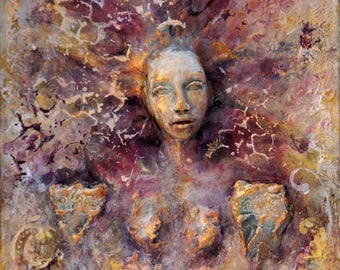 Vina. AVAILABLE NOW Spiritual Wall Sculpture by Fae Factory Artist Dr Franky Dolan (clay relief & canvas painting Mixed Media) {See VIDEO}