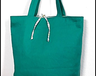 Green Turquoise/Emerald and stripes tote bag