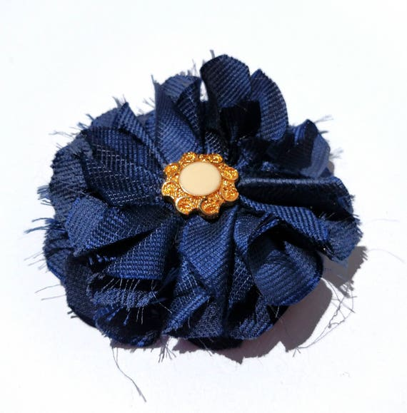 Recycled Vintage Silk Necktie Fabric Flower Clip - Navy with Gold Button