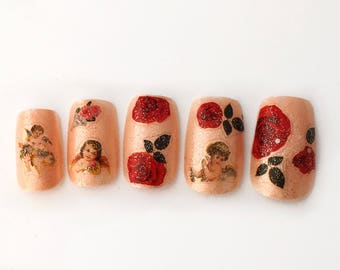 Roses and Cupid Valentine's Day Nails | Vintage Style Valentines Press On Nails | Angel Cupid Fake Nails | Nude Shimmer Red Roses VDay Nails