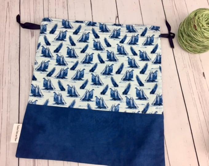 Sailboats,  Crochet Project Bag, Yarn Bag, Fiber Project Bag, Sock knitting bag, Shawl project bag