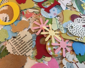 Mixed Die Cut Paper Punches~Scrapbooking~ Paper Embellishments ~ Vintage and New Papers~Pkg /100