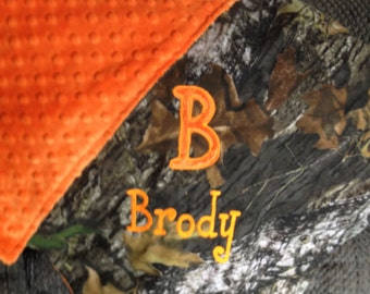 Personalized Mossy Oak or Realtree Camo Camouflage Hunting Baby Newborn Infant Blanket Minky Backing Embroidered