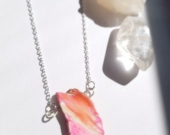 Pink dyed imperial jasper necklace, jasper crystal necklace, pink stone necklace