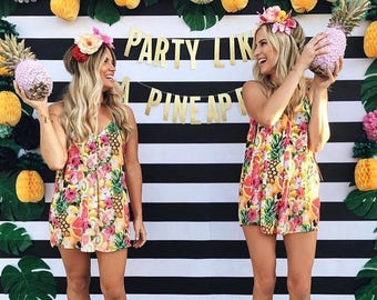 Party Like a Pineapple glitter banner Fiesta Summer Birthday Party Girls Night Bachelorette Party Pineapple Party Flamingo Party Decor