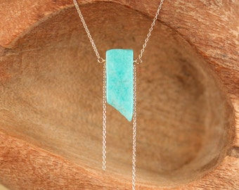 Amazonite necklace - mineral necklace - rectangle necklace - green stone necklace - a wire wrapped amazonite on a 14k gold filled chain