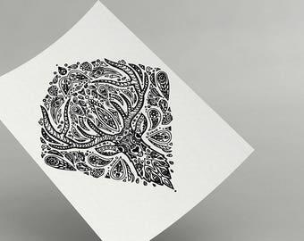 Deer Mandala - Printable - Intricate Animal Illustration - Delicate Nature Artwork