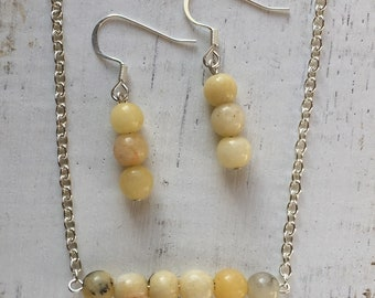 Yellow Jade Necklace and Earrings Set