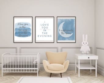 Baby Boy Nursery Art - I Love You In The Morning & In the Afternoon (3) 8x10 Prints - Modern Nursery Art - Watercolor Nursery Decor