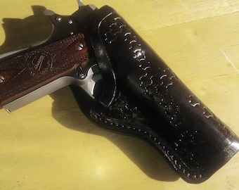 Leather Holster For Open Carry 1911 GLOCK Springfield XD Hand Made USA Tooled and Lined For Left Hand or Right