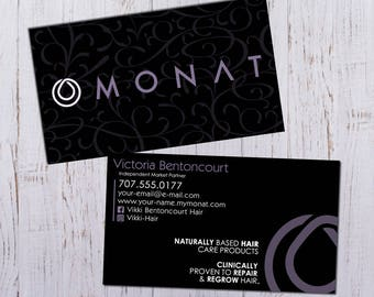 Monat Business Cards - Black with Purple Pattern Design - Durable 16pt - Rich Matte Finish -PRINTED and SHIPPED Directly to YOU!