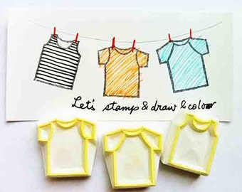 t-shirts rubber stamp set | tee shirts stamps | diy birthday card making | summer crafts for kids | hand carved by talktothesun | set of 3