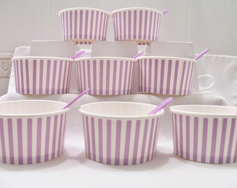 16 Lilac striped paper cups - 8oz/200ml ice-cream cups - wedding cups - dessert cups/spoons - purple baby shower cups - birthday treat cups