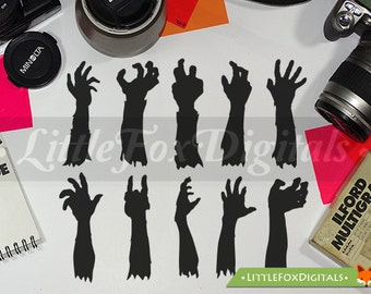 Zombie Hand Props Silhouette Clipart Set Digital Illustration Scrapbook