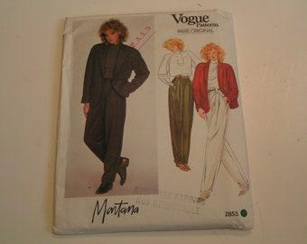 Vintage Vogue Pattern Paris Original 2853 Montana Miss Jacket Top Pants