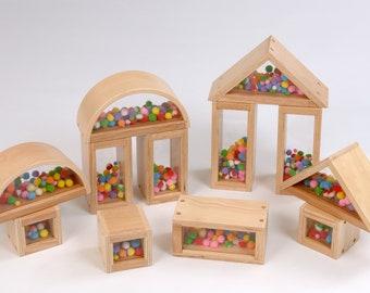 En bois Pom Pom jeu de blocs de Construction de 24