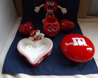 Lot of Red M&M Items M and M Valentine Items