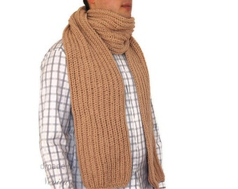 Beige Brown Mens Scarf, Hand knitted mens scarf, extra long 78 inches