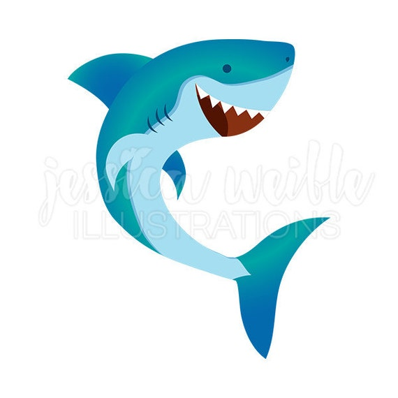 happy shark cute digital clipart cute shark clip art shark rh etsy com cute shark clipart
